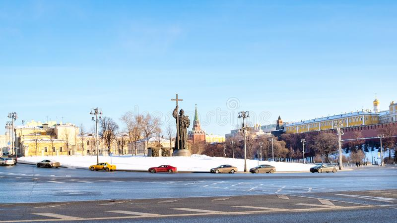 Vista panoramica del quadrato di Borovitskaya a Mosca immagini stock libere da diritti