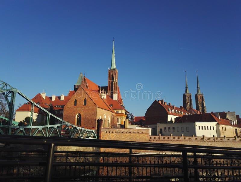 Vista panoramica del Tumski & del x28; Cathedral& x29; Isola, Wroclaw, Polonia fotografie stock