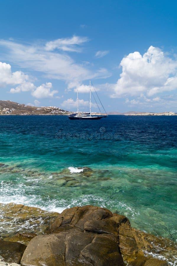 Vista panoramica dell'isola di Santorini fotografia stock libera da diritti