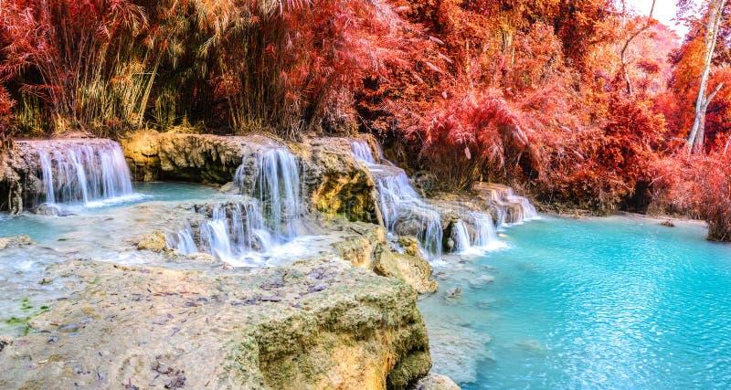 Vista panoramica della cascata della foresta pluviale, Tat Kuang Si Waterfall a Luang Prabang, Loas fotografie stock