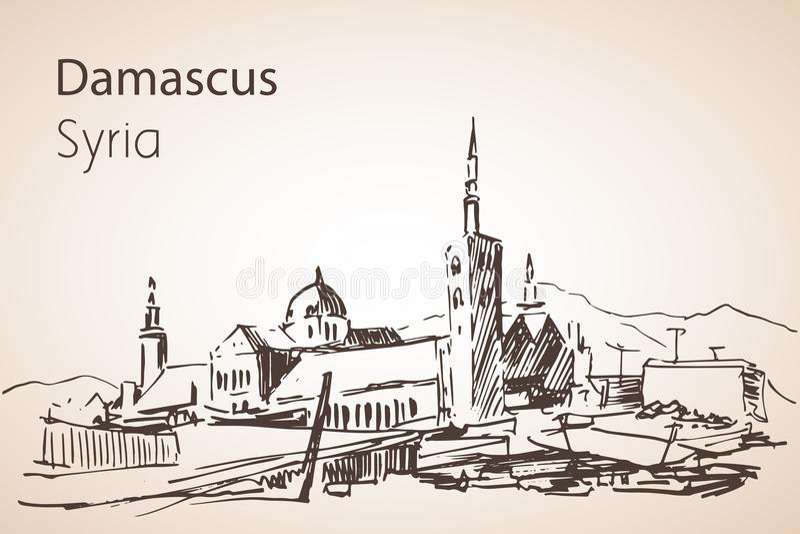 Vista panoramica della città Damaskus, Siria abbozzo illustrazione di stock