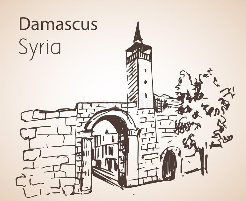 Vista panoramica della città Damaskus, Siria abbozzo Isolato su briciolo illustrazione di stock