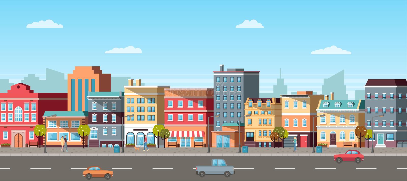 Vista panoramica della città, dell'automobile e del vettore pedonale illustrazione vettoriale