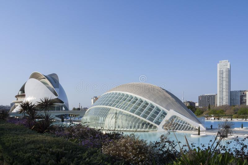 Vista panoramica della città delle arti e delle scienze a Valencia fotografie stock libere da diritti