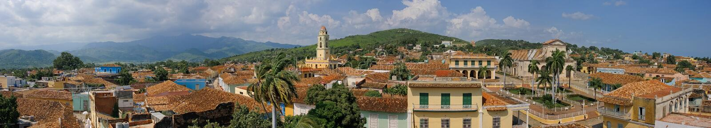 Vista panoramica della città di Trinidad veduta dalla torre del museo della città immagini stock
