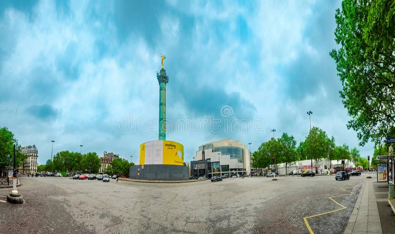 Vista panoramica della colonna di luglio, Colonne de Juillet fotografie stock