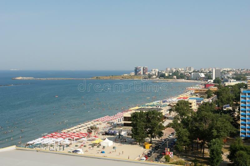 Vista panoramica della costa della località di soggiorno di Mar Nero di Mamaia immagini stock