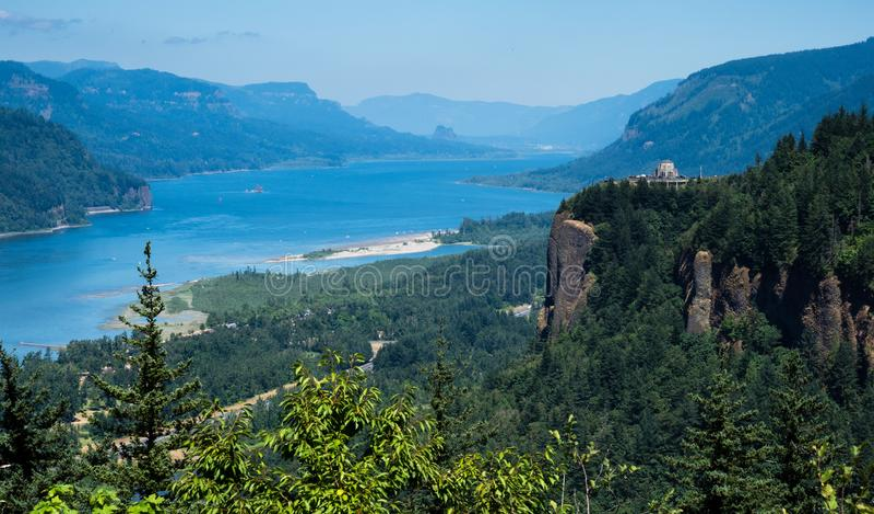 Vista panoramica della gola del fiume Columbia - Oregon, U.S.A. fotografia stock libera da diritti