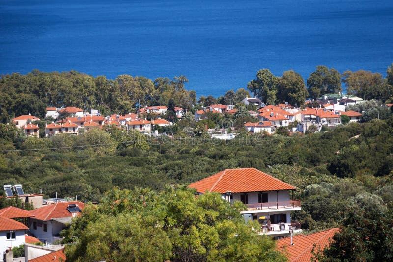 Vista panoramica della località di soggiorno Stavros della Grecia fotografia stock libera da diritti