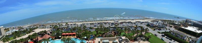 Vista panoramica della spiaggia dell'isola di Galveston fotografia stock libera da diritti