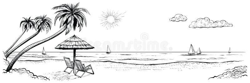 Vista panoramica della spiaggia Vector l'illustrazione della spiaggia con le palme, due sedie, l'ombrello e gli yacht illustrazione vettoriale