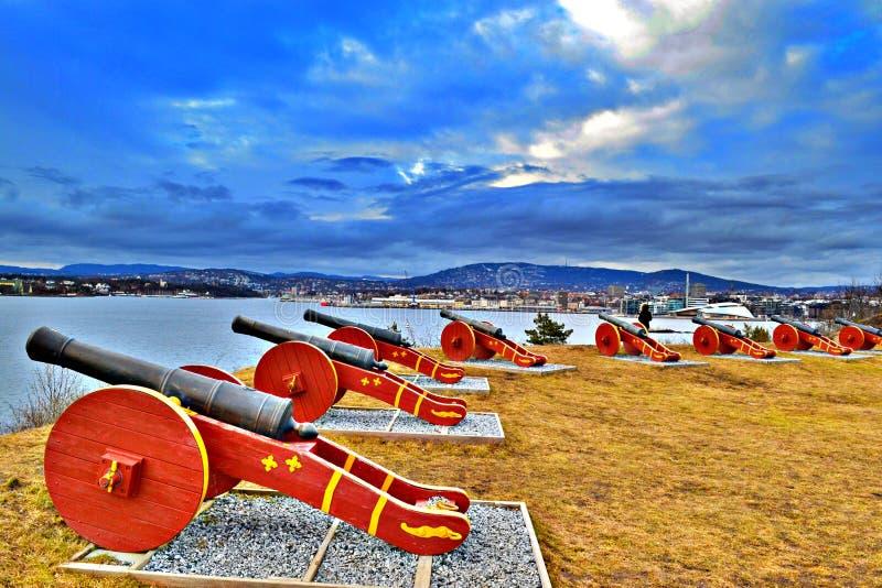 Vista panoramica delle batterie del cannone sull'isola di Hovedoya, sviluppata nell'inizio del XIX secolo - primavera 2017 fotografia stock libera da diritti
