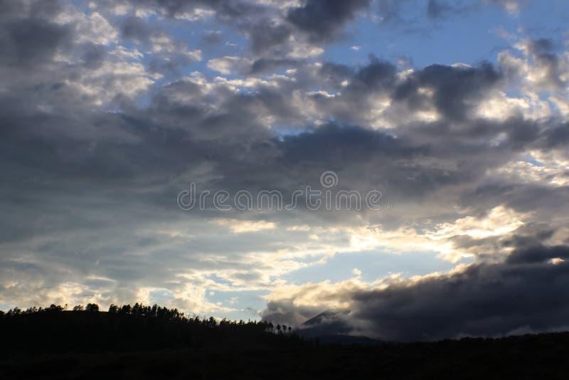 Vista panoramica delle montagne oscurata parzialmente dalle nuvole e dalla foschia con gli alberi rigidi contro un cielo turbolen fotografie stock libere da diritti