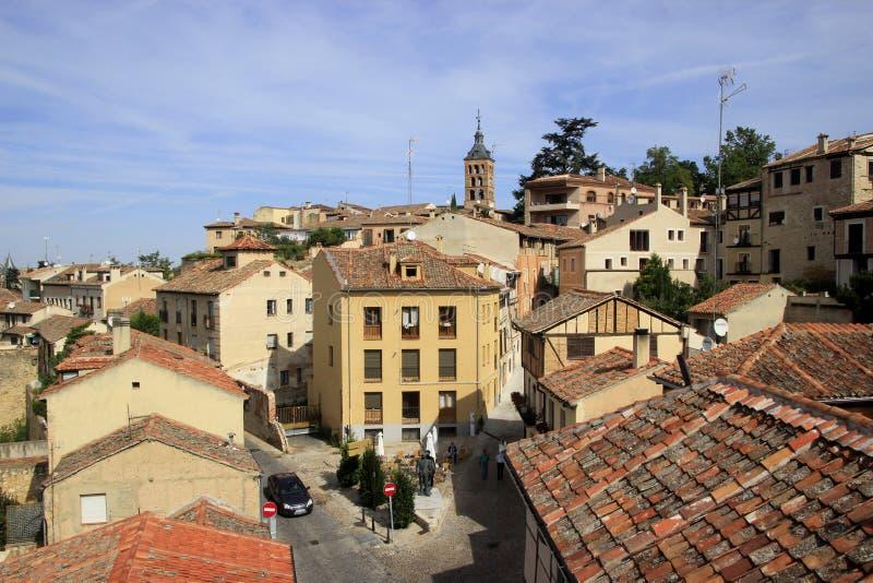 Vista panoramica delle vie di Segovia fotografia stock libera da diritti
