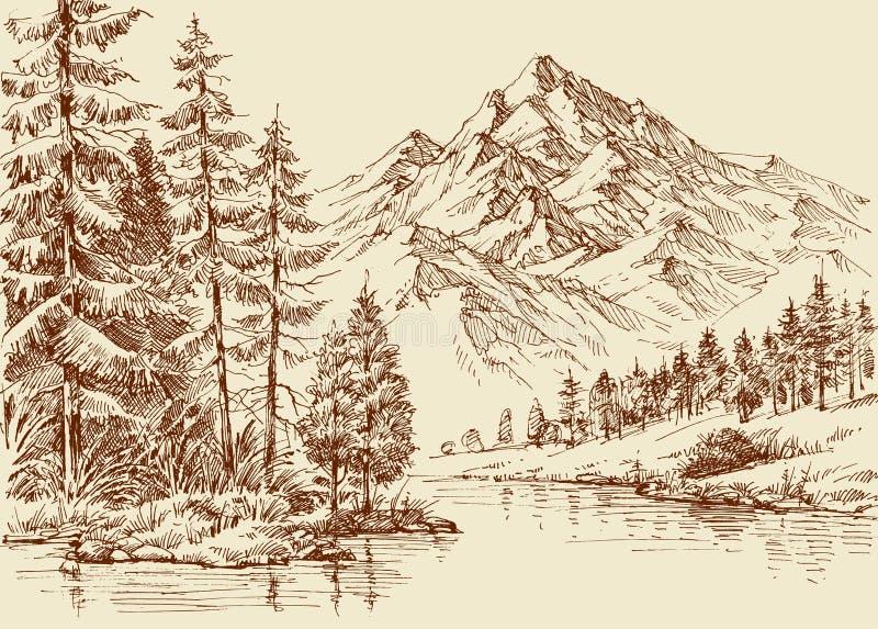 Vista panoramica di Alpes illustrazione vettoriale