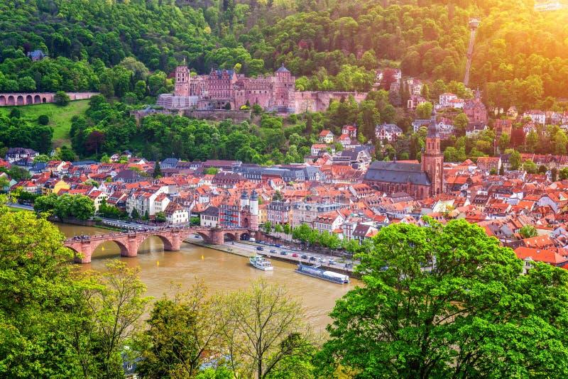 Vista panoramica di bella città medievale Heidelberg compreso la C immagini stock libere da diritti