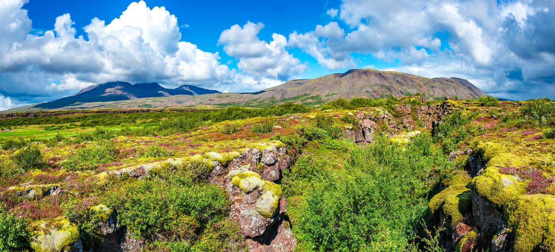 Vista panoramica di bello paesaggio islandese variopinto, Islanda fotografia stock libera da diritti