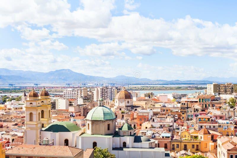 Vista panoramica di Cagliari, Sardegna, Italia fotografie stock libere da diritti