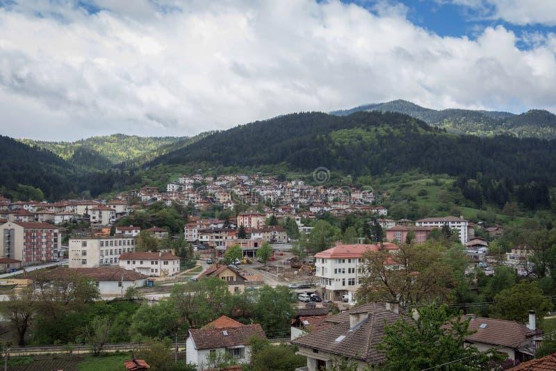 Vista panoramica di Devin, Bulgaria fotografia stock