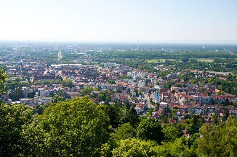 Vista panoramica di Karlsruhe da Turmberg, Germania immagini stock