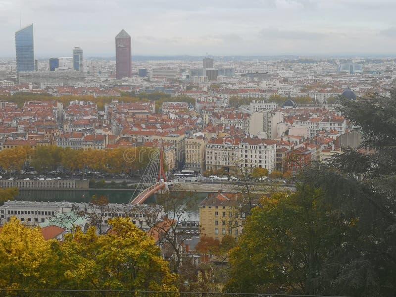 Vista panoramica di Lione, autunno, Francia immagine stock