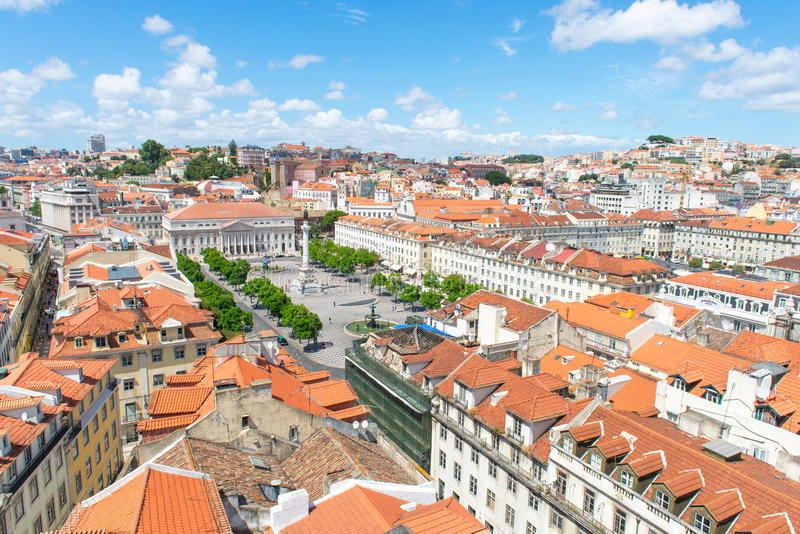 Vista panoramica di Lisbona fotografia stock libera da diritti