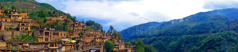 Vista panoramica di Masouleh, Iran fotografia stock libera da diritti