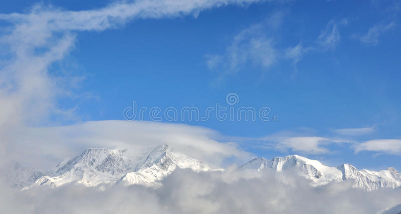 Vista panoramica di Mont Blanc fotografia stock libera da diritti