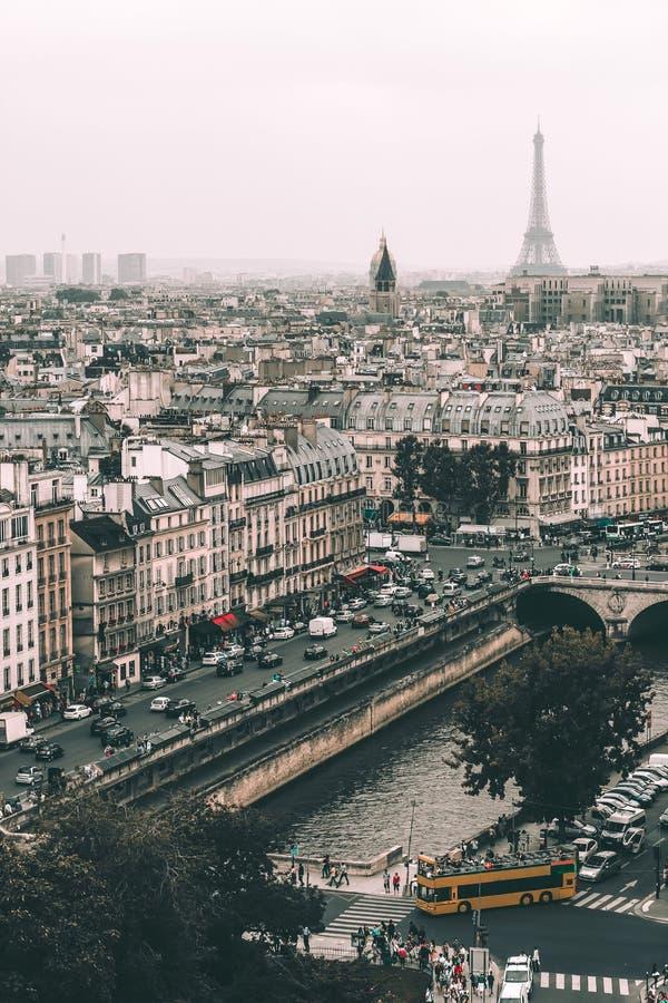 Vista panoramica di Parigi, della torre Eiffel e del fiume la Senna dal tetto della cattedrale di Notre Dame, Francia Tempo nuvol fotografia stock