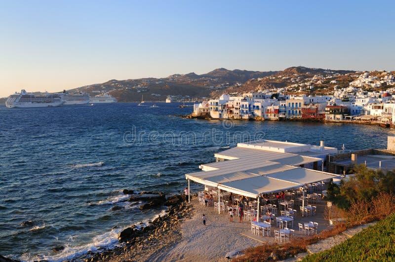 Vista panoramica di poca Venezia, isola di Mykonos fotografie stock libere da diritti