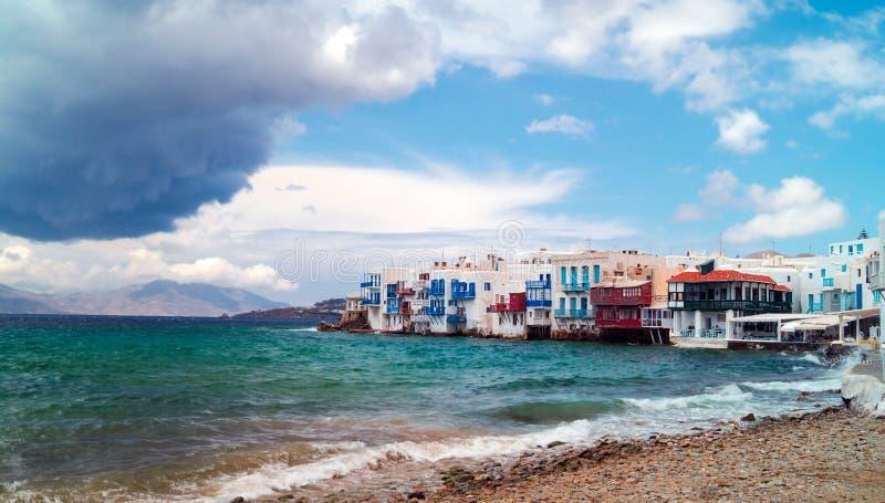 Vista panoramica di poca Venezia sull'isola di Mykonos fotografia stock libera da diritti