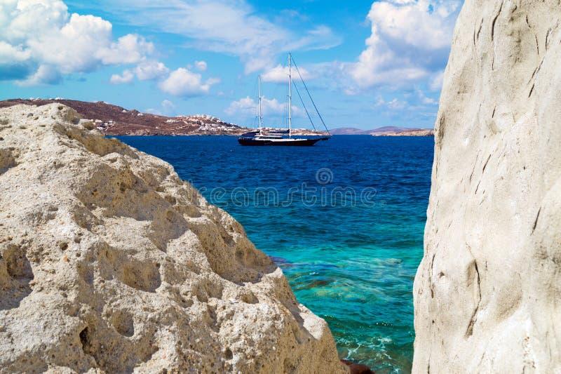 Vista panoramica di poca Venezia sull'isola di Mykonos fotografie stock