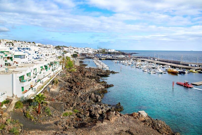 Vista panoramica di Puerto del Carmen, Lanzarote, Spagna immagini stock