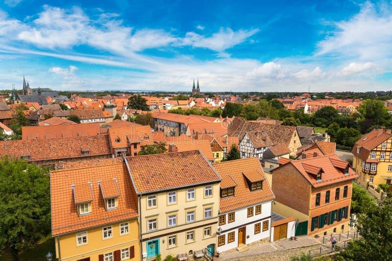 Vista panoramica di Quedlinburg, Germania immagini stock