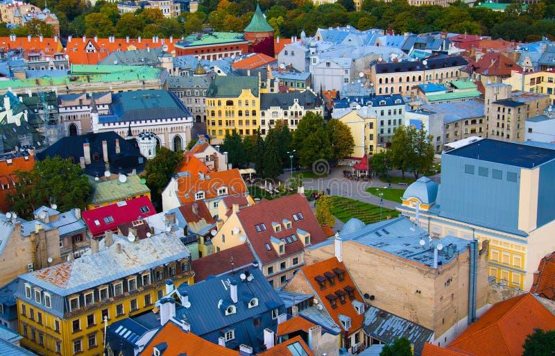Vista panoramica di Riga Città Vecchia, Lettonia immagini stock libere da diritti