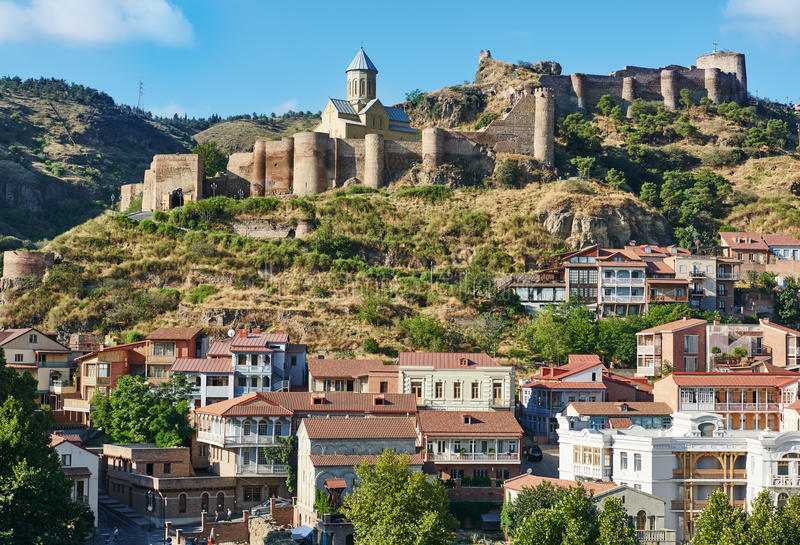 Vista panoramica di Tbilisi in Georgia, Europa immagini stock libere da diritti