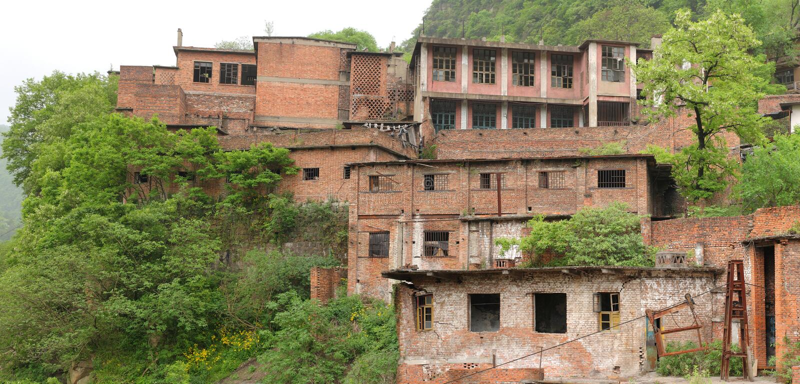 Vista panoramica di una prigione cinese abbandonata nella montagna fotografie stock libere da diritti