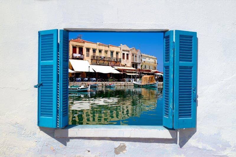 Vista panoramica di vecchia città in Rethymno a Creta fotografia stock