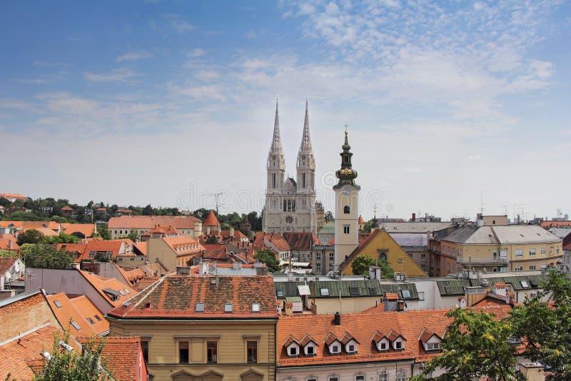 Vista panoramica di Zagabria fotografia stock libera da diritti