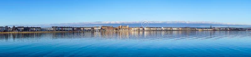 Vista panoramica in mare della spiaggia di Weymouth fotografia stock