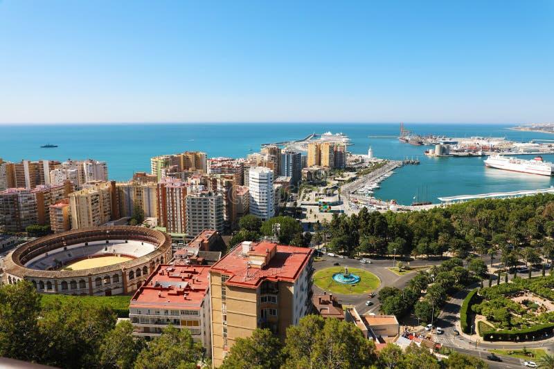 Vista panoramica stupefacente della città di Malaga, Andalusia, Spagna immagini stock libere da diritti