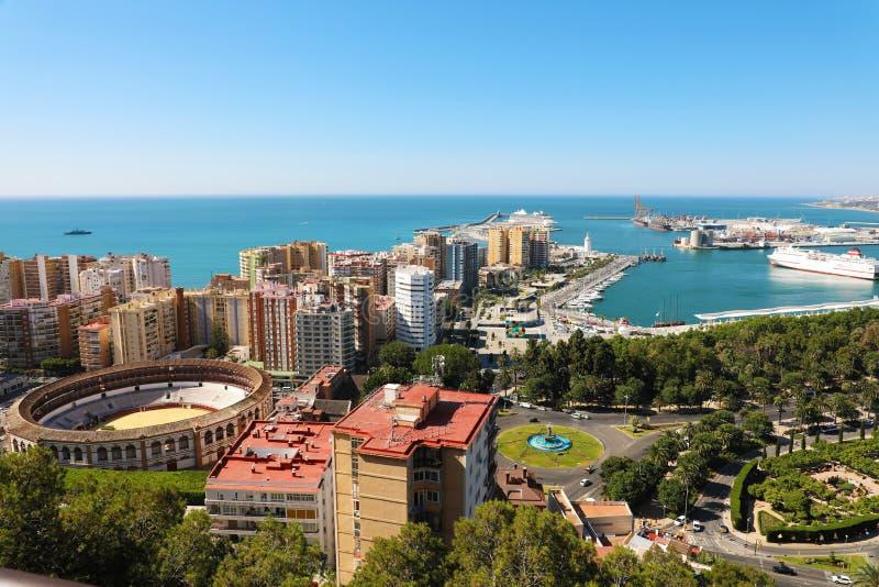 Vista panoramica stupefacente della città di Malaga, Andalusia, Spagna fotografie stock