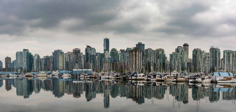 Vista panoramica su Vancouver del centro, Canada immagini stock