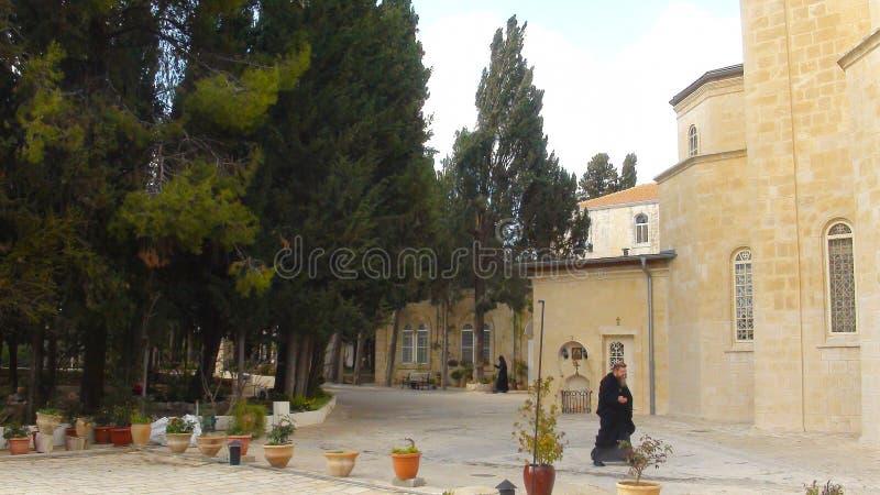 Vista panoramica sul monte degli Ulivi, chiesa ortodossa russa di Ascencion, Gerusalemme, Israele fotografie stock libere da diritti