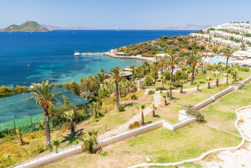 Vista panoramica sulla spiaggia di Bodrum fotografia stock libera da diritti