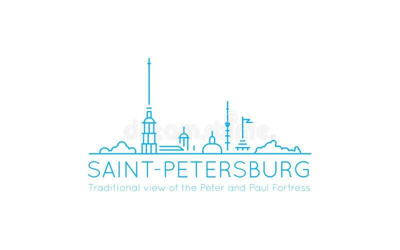 Vista panoramica tradizionale con i profili del Peter e di Paul Fortress, usati spesso rappresentare l'immagine della st illustrazione di stock