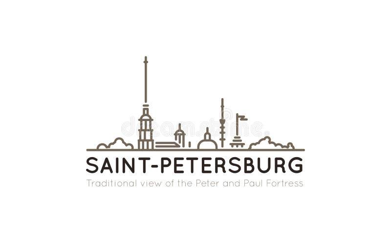 Vista panoramica tradizionale con i profili del Peter e di Paul Fortress, usati spesso rappresentare l'immagine della st illustrazione vettoriale