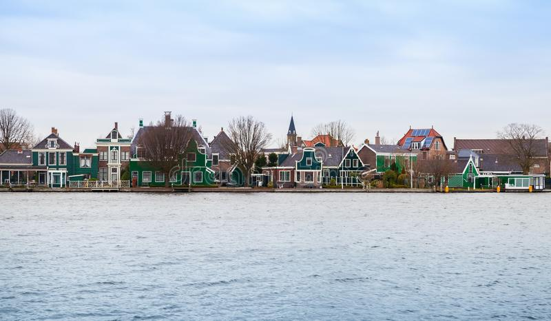 Vista panoramica, Zaanse Schans, Paesi Bassi fotografia stock libera da diritti