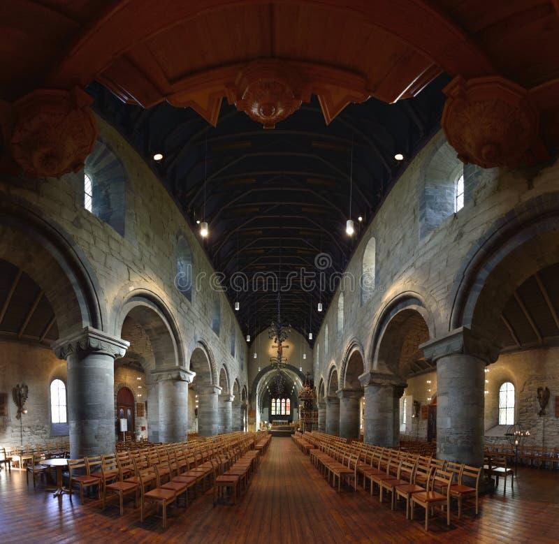 Vista panormaic interna della cattedrale di Stavanger immagini stock libere da diritti