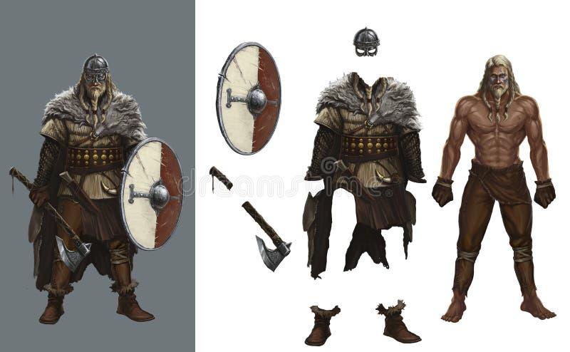 Vista para arriba el escudo redondo Helme de vikingo de los juegos ilustración del vector